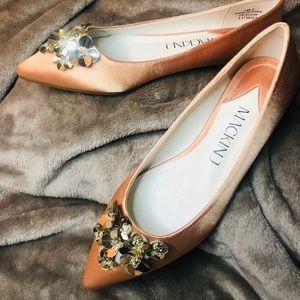 Vintage Style Coral Embellished Ballet Flat